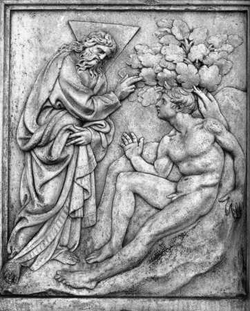The Creation of Man, shown here, is one of many relief sculptures created by Jacopo della Quercia for the Porta Magna of San Petronio Church in Bologna, Italy.