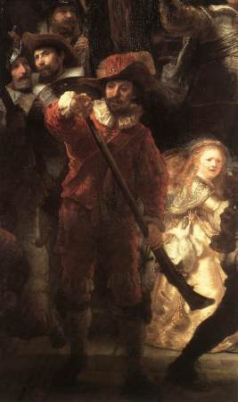 Detail of Rembrandt's The Night Watch.