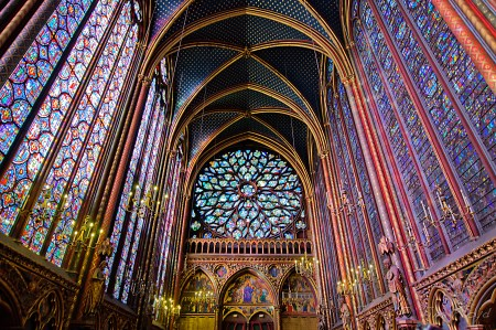 A view of the interior of Sainte-Chapelle, a Gothic church in Paris.