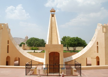 The Samrat Yantra, shown here at Jaipur, at 90 feet tall, is the largest instrument of the Jantar Mantar. It functions as a giant sundial.