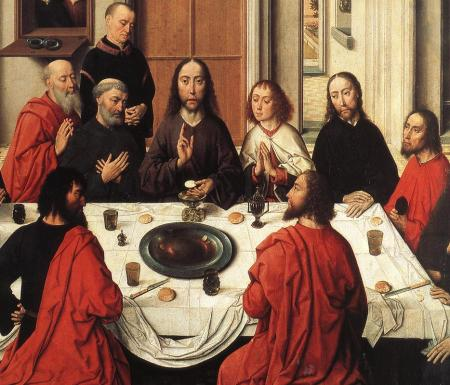 Detail from the center panel of Dieric Bouts' Last Supper altarpiece.