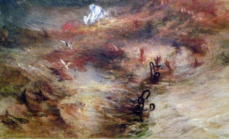 Detail of Turner's The Slave Ship, showing men and women in chains who have been thrown overboard.