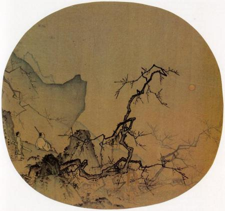 Ma Yuan painted Viewing Plum Blossoms by Moonlight on a silk fan, which was then mounted as an album leaf.
