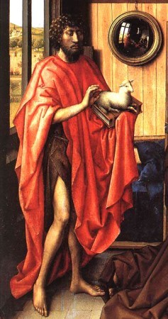 Detail from the left wing of the Werl Altarpiece, showing the donor's patron saint, John the Baptist with his attribute, the Lamb of God. The mirror is believed to be a tribute to or imitation of van Eyck's Arnolfini Wedding Portrait.