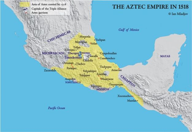 A map of the Aztec Empire just before the Spanish invasion.