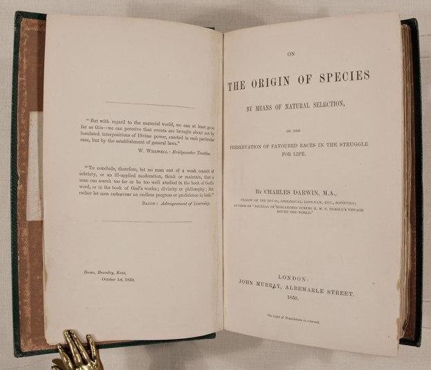 A first edition copy of Darwin's Origin of Species.