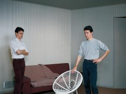 """""""Double Self-Portrait"""", a 1979 photograph by Jeff Wall."""