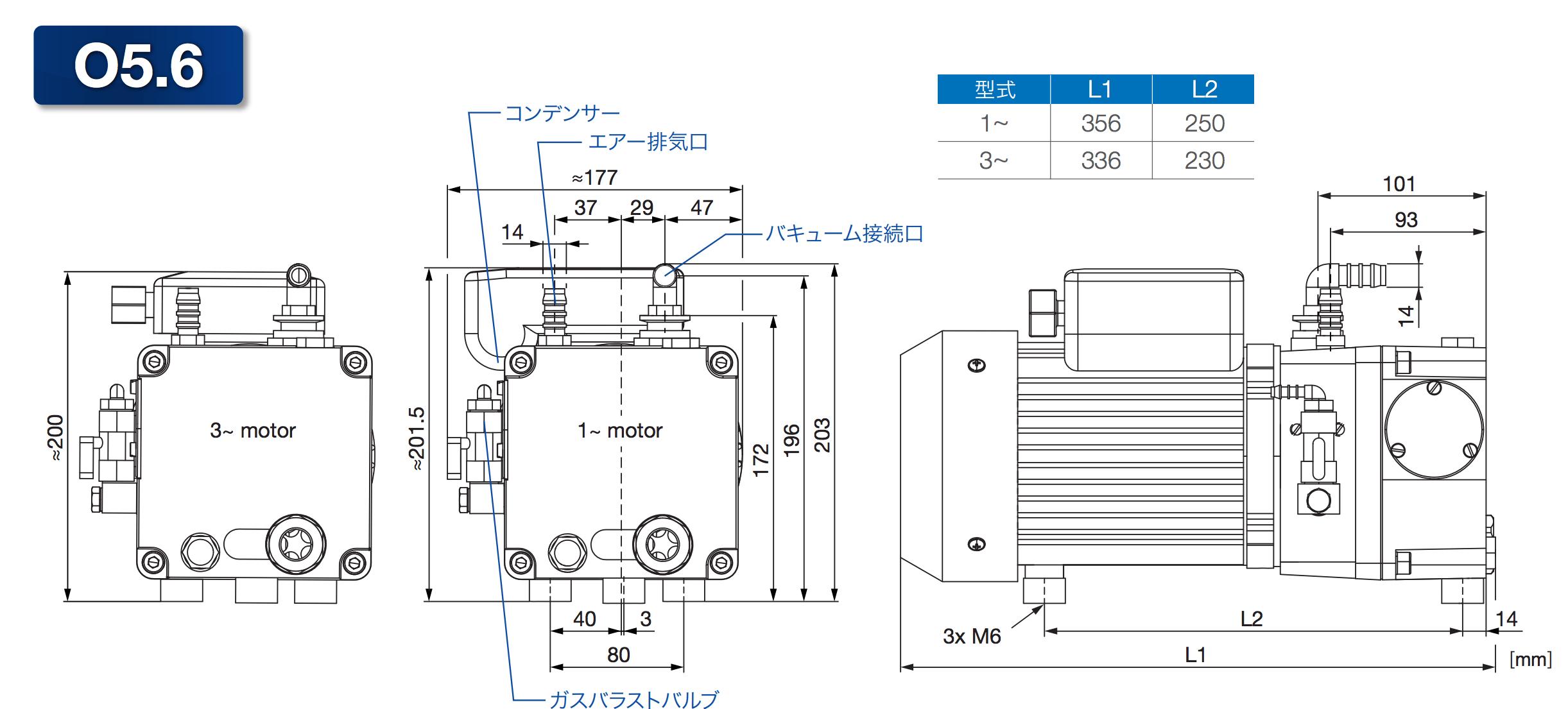 ロータリーベーン式潤滑真空ポンプ O5シリーズ