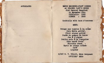 Cover and menu of General Hospital 21 540th Engineer-Staff Dinner, 1944