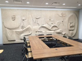 Nivola's concrete mural in the first floor Renard Hospital conference room, 2017