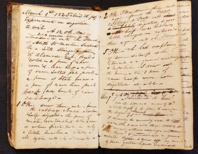 William Beaumont's notebook recording his account of the Alexis St. Martin Case, 1822-1833.
