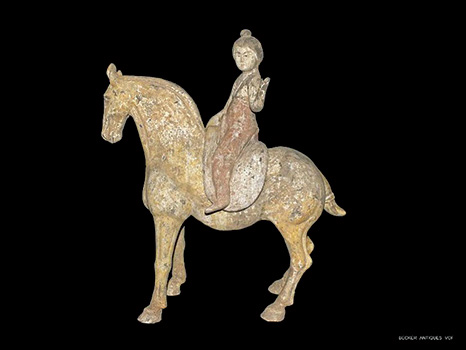 Tang Horse & Detachable Equestrian Figure