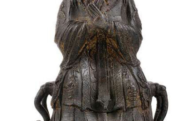 Ming Dynasty Bronze Seated Figure Dignitary