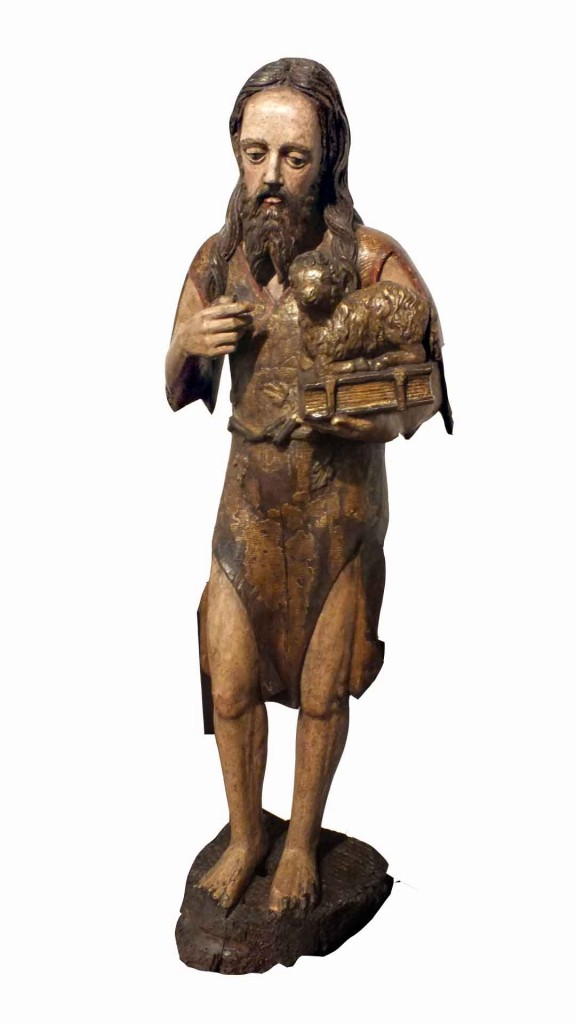 Polychrome Carved Wood Figure St John Baptist