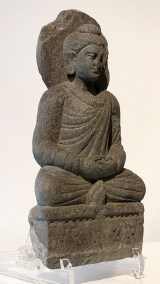 Gray Schist Figure Seated Buddha (2)