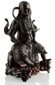 Large Black Lacquered Bronze Figure Guandi 21 (2)