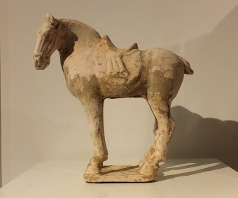 Painted Red Pottery Saddled Horse (1)
