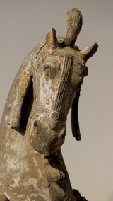 Large Painted Grey Pottery Caparisoned Horse (6)