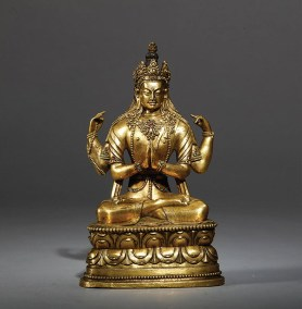 Mongolia Gilt Bronze Figure Avalokitesvara (1)
