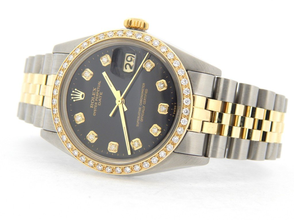Rolex Mens Two Tone Date 1505 For Sale SKU 5035841MT