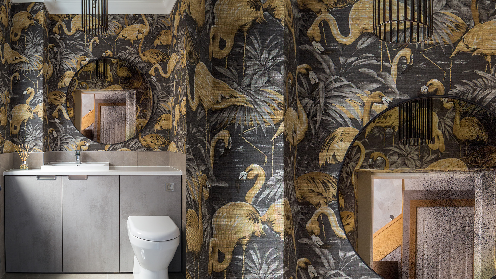 Flamingo wallpaper, downstairs bathroom, aged mirror q