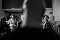 Audience awaits entry to the Performance Workshop Presentation 2014
