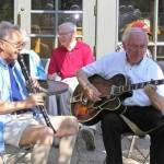 "Becketwood Members enjoying ""jamming"" on the porch with guitar and clarinet."