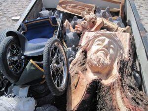 Wheelbarrow with head of Christ