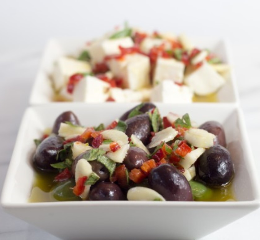 Garlic Marinated Olives and Feta