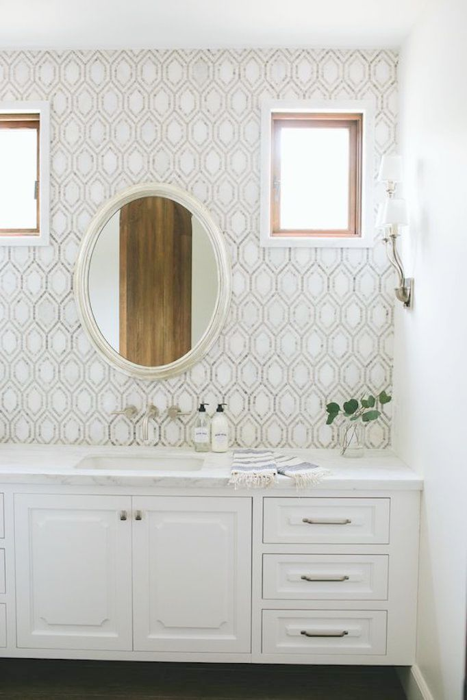 white bistro chairs office waiting room bathroom style trend: tile statement wallbecki owens