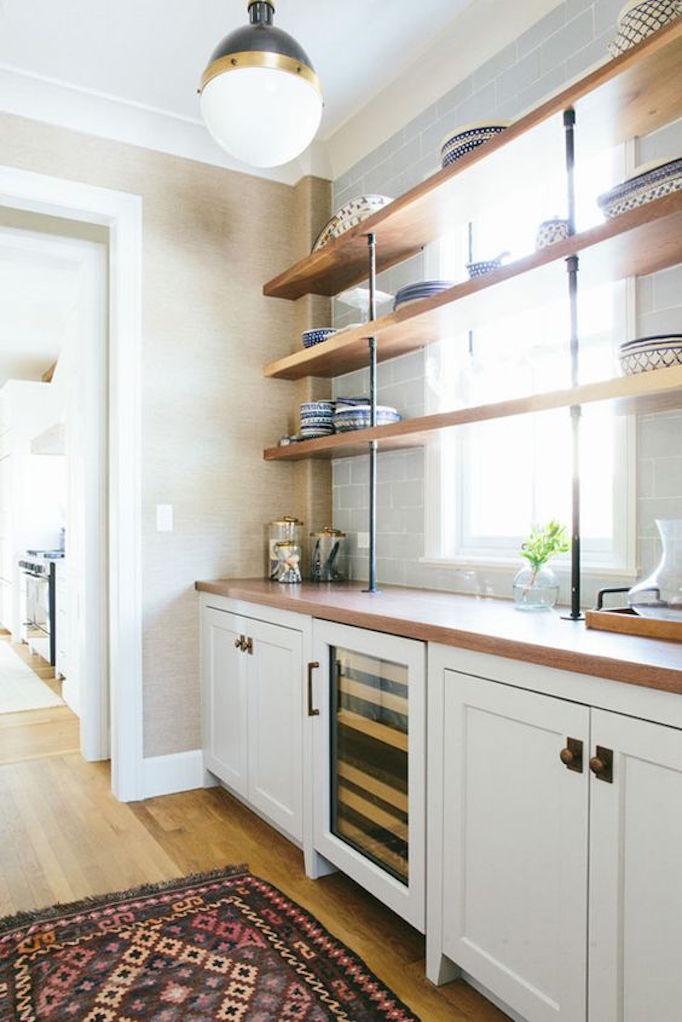 Kitchen Trend Open Shelving in Front of WindowsBECKI OWENS