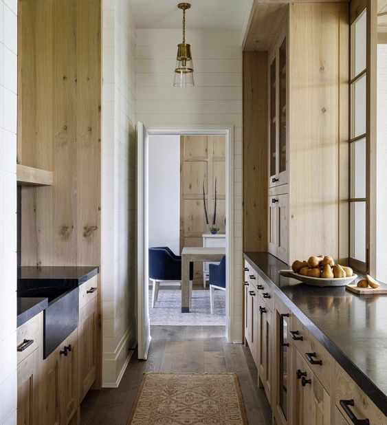Wood Butlers Pantry Black Counters