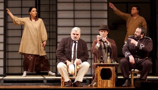 Claire Bradshaw (Suzuki), Alan Opie (Sharpless), Philip Lloyd Holtam (Goro) and Gwyn Hughes Jones (Pinkerton) © Jenni Clegg