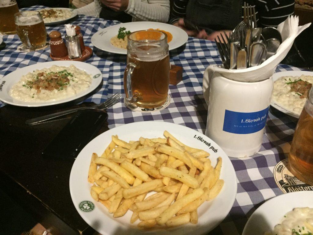 Fries and Halušhky at the SLovak Pub in Bratislava, Slovakia