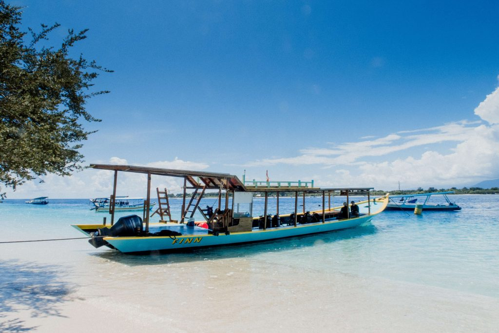 a diving boat in Gili Trawagnan, Indonesia