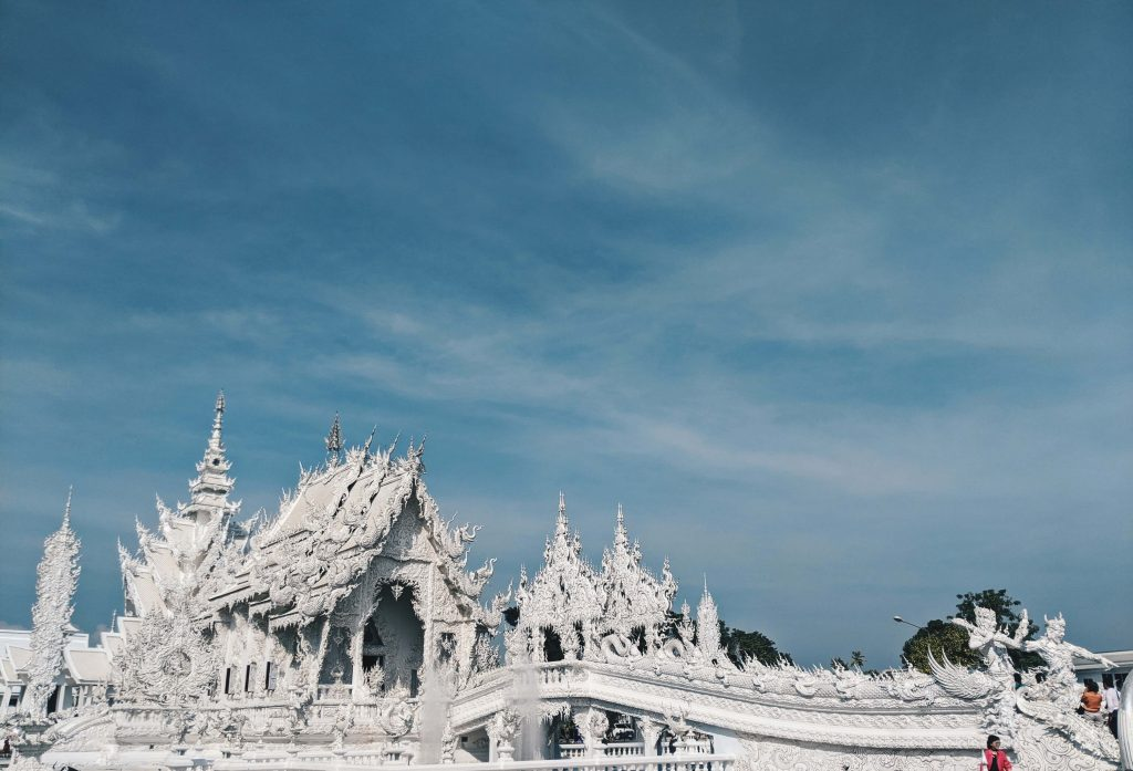 The white temple in Chiang Rai, Thailand, from the outside