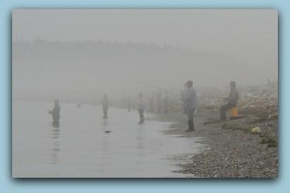 Fishing in the fog at Drift Wood Beach....