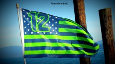 This is my first fan flag. I earned this one shooting one of several Seahawks rallies.