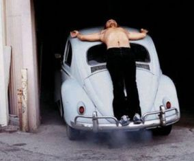 Chris Burden's 'Trans-fixed' is a good example of extreme body art