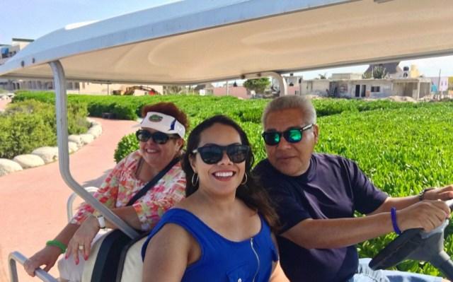 Isla Mujeres group selfie golf cart