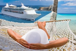 Resting in a hammock on the beach on a cruise vacation