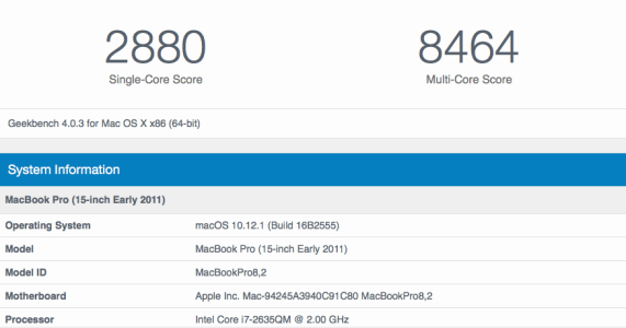 "2011 15"" MBP Geekbench (2880 single, 8464 multi)"