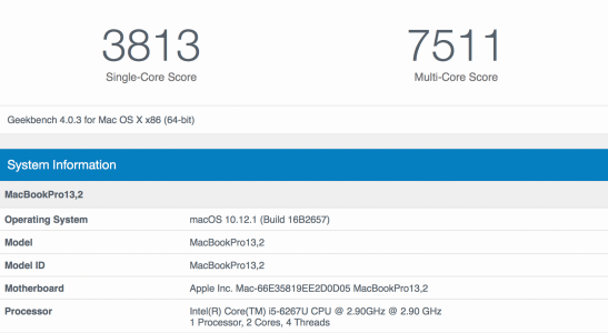 "13"" MacBook Pro Geekbench (3813 single, 7511 multi)"