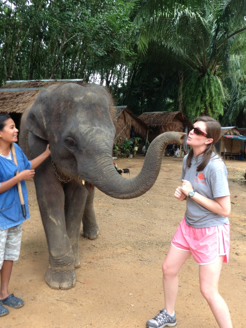 kisses from the baby elephant and yes she made a big smack sound! so cute!