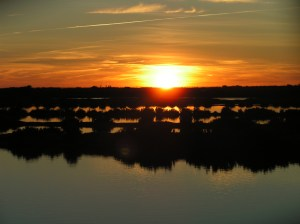 Sunset over the Ria Formosa taken from the saltpans in Olhão