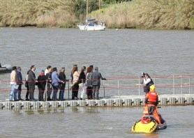 Dignitaries stooped mid river for photo call!