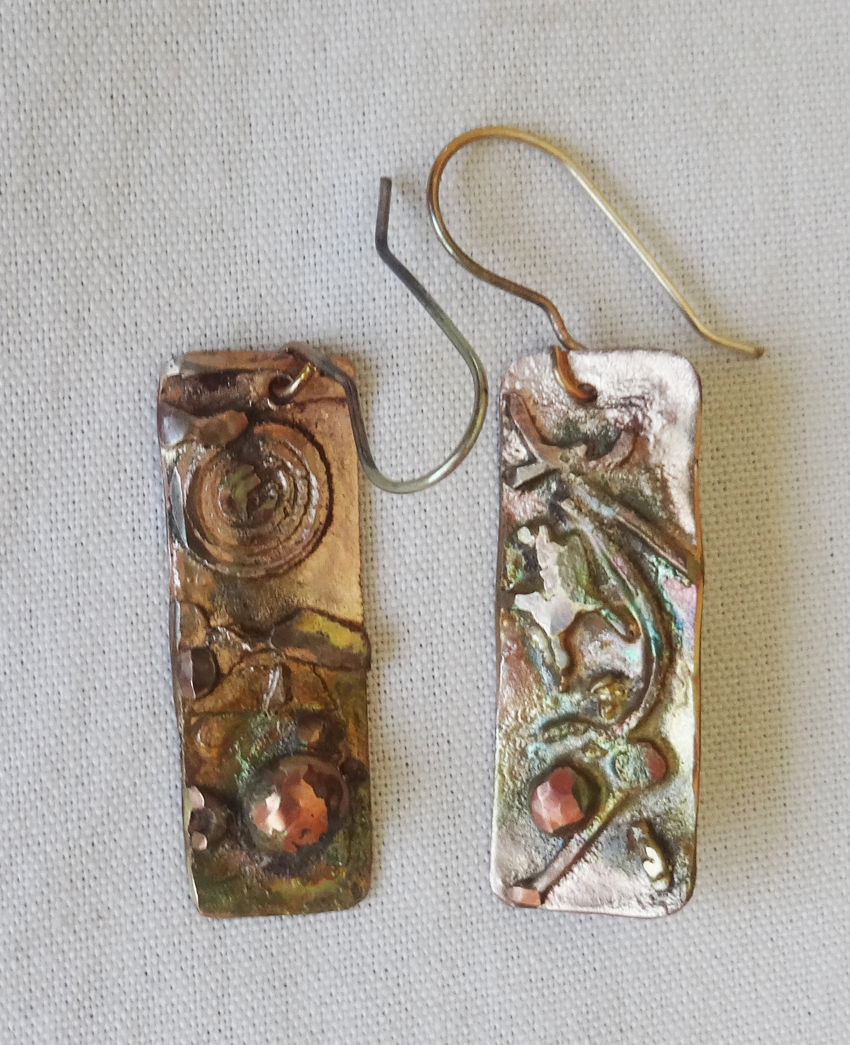 3ff8ec75d Mixed metal dangle earrings of copper, silver and brass
