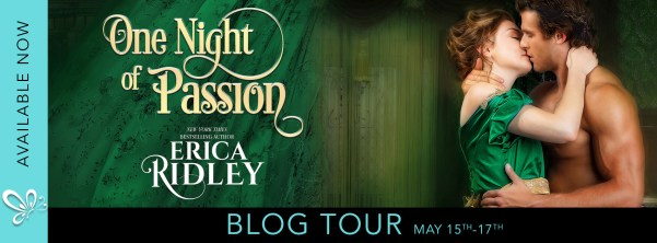 One Night of Passion by Erica Ridley blog tour banner