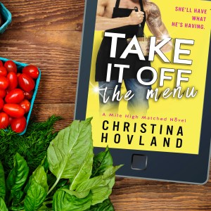 Take It Off the Menu IG photo book, greens, and tomatoes on wooden surface