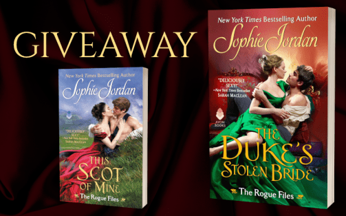 Giveaway graphic: covers of both The Duke's Stolen Bride and This Scot of Mine